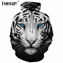 Lypréazy hommes/femmes sweat à capuche blanc tigre imprimer 3d sweats avec chapeau automne hiver mince sweat à capuche hauts