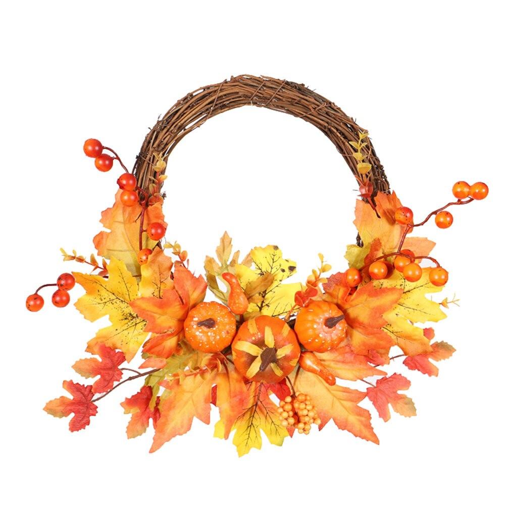 Flor artificial queda grinalda de ação de graças outono colheita garland ornamento com abóboras maple leaf casa porta parede pendurado decoração