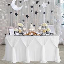 MeterMall rayure Style Table jupe pour rond Rectangle Table bébé douches fête danniversaire mariage décor Table jupe nappe