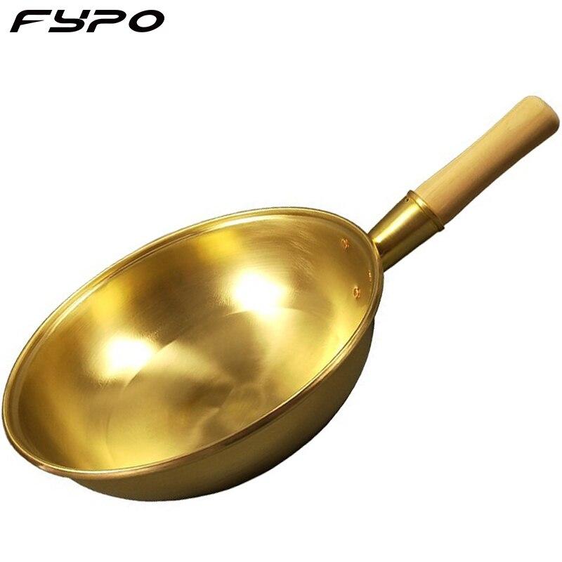 Fypo 100% النحاس النقي مقلاة وعاء النحاس سميكة مقبض خشبي مقلاة مقلاة النحاس تجهيزات المطابخ الطبخ ووك النحاس طباخ