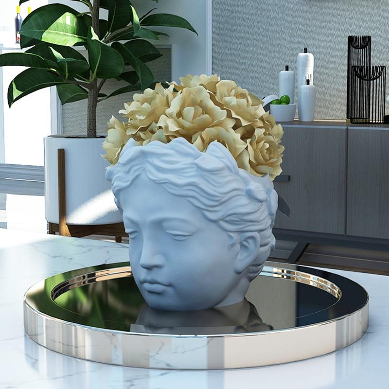 Molde de silicona para maceta de cemento, molde de cabeza de diosa, molde de tiesto para hormigón, cabeza de yeso, molde de silicona en maceta