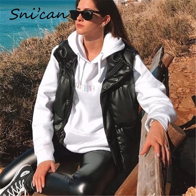 Snican Black Faux Leather Jacket Coat Winter Casual Cropped Jacket Za Women 2021 Chaquetas De Mujer Vintage Female Abrigo Veste