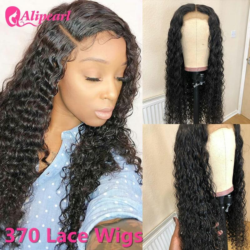 370 spitze Frontal Perücke Tiefe Welle Spitze Front Menschliches Haar Perücken Peruanische Haar Perücken Für Schwarze Frauen 180% Dichte AliPearl haar Perücke