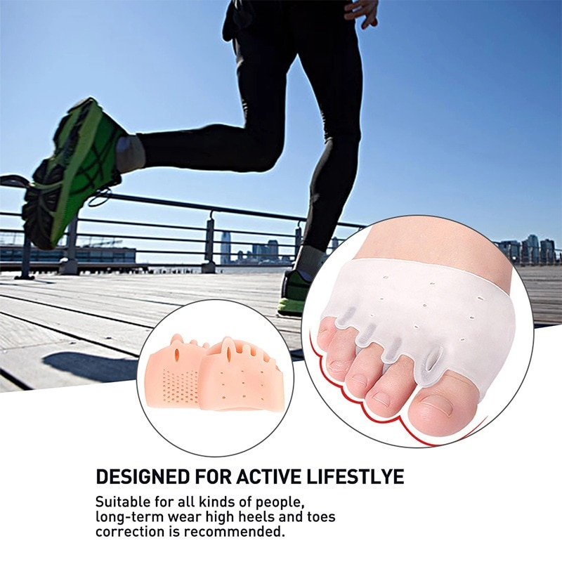 silicone insole orthopedic shoes orthotic insoles thumb valgus protector foot finger toe separator gel inserts pads for shoes Silicone Forefoot Pads Toe Separator Cushion Pad Pain Relief Shoes Insoles Finger Toe Hallux Valgus Corrector Gel Pads Foot Care