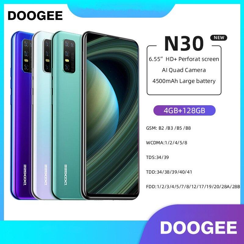Смартфон глобальная версия DOOGEE N30, 6,5 дюйма, 4 + 128 ГБ, 8-ядерный, 4500 ма ч, Android 10