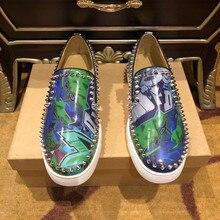 Summer Loafers men Red bottom shoes for men slip on Luxury designer shoes Leather Flat vulcanized bo
