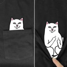 Men's T Shirt Fashion  Brand New pocket cat Cartoon print t-shirt men's shirts Hip hop tops funny Harajuku tees Style-2