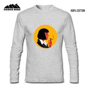 Mia Wallace Pulp Fiction Sexy Lady Painting Print Men Long Sleeved T-shirt Limited Edition Fitness Casual Male T shirt Top Tees