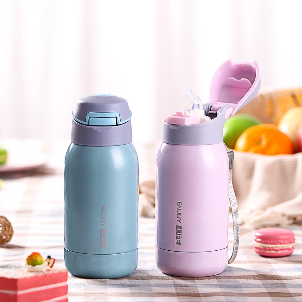 Termal con paja Acero inoxidable deporte aislamiento taza 250ml botella de agua portátil vaso de vacío taza termotaza para niños