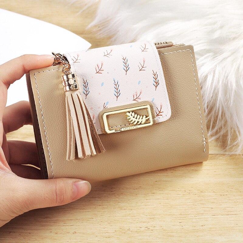 Fashion Tassels Short Wallet Bag for Women PU Leather Clutch Bags Cute Korean Card Holder Female Folding Small Coin Purse Bolsas
