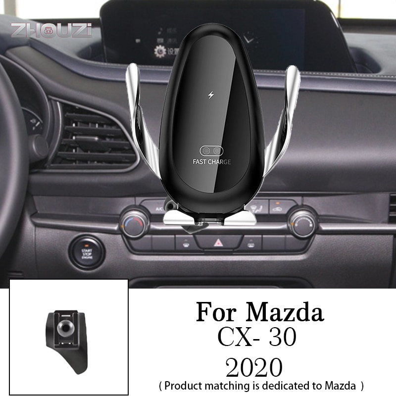Car Wireless Charger Mobile Phone Holder Mounts Stand Bracket For Mazda CX-30 CX30 2020 2021 Auto Accessories
