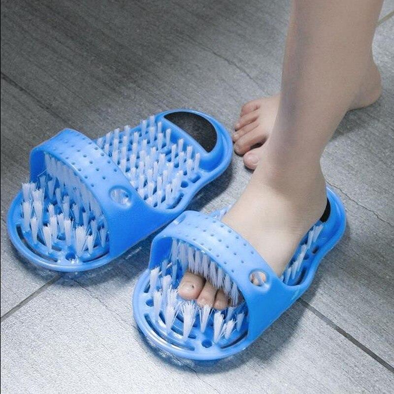 Casa de banho do agregado familiar pé escova de limpeza chinelo plástico remover pele morta massagem chinelo pé purificador sapato de banho com escova
