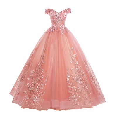 Gryffon Quinceanera Dresses Party Prom Lace Embroidery Off The Shoulder Ball Gown 5 Colors Quinceane