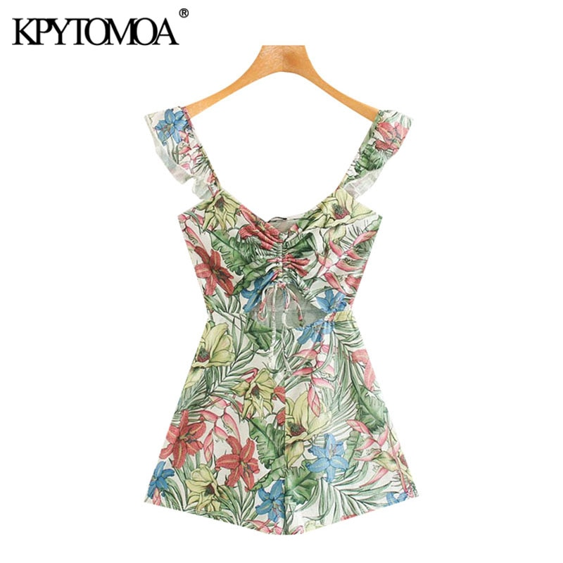 Kpytomoa macacão feminino vintage, estampa floral, com renda, vintage 2020