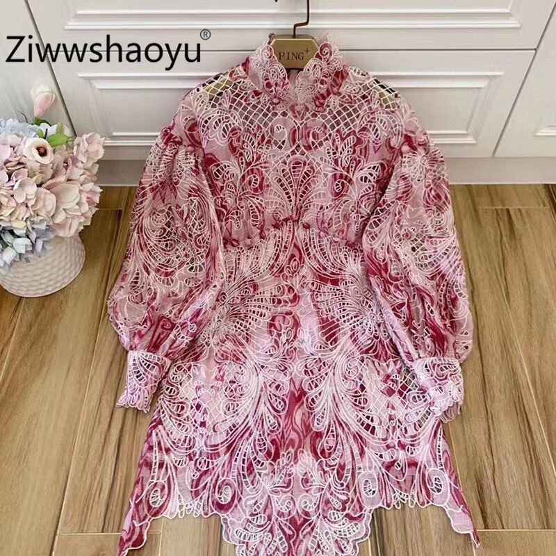 Ziwwshaoyu 2020 Spring Runway Luxury Mini Hollow Dresses Women's Lantern Sleeve Baroque Print Sexy Dress + Cotton lining