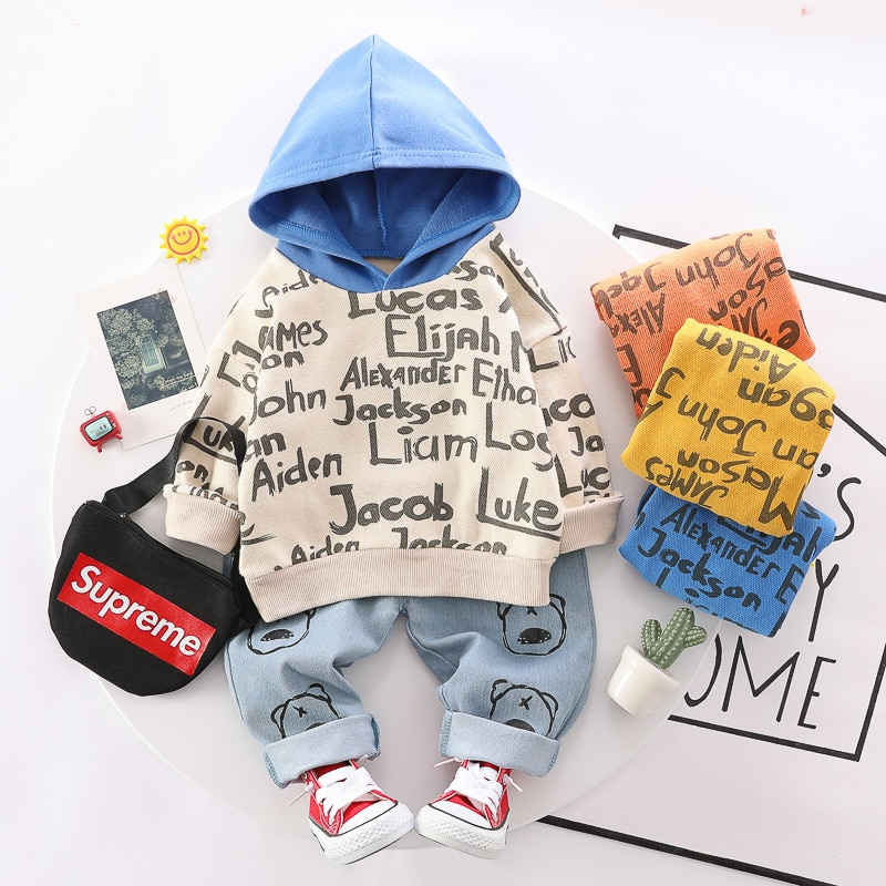 Children Clothing 2021 Autumn Baby Boys Clothes Letter Hooded Top+Jeans Casual Tracksuit Suits Toddler Girls Sets 1 2 3 4 Years