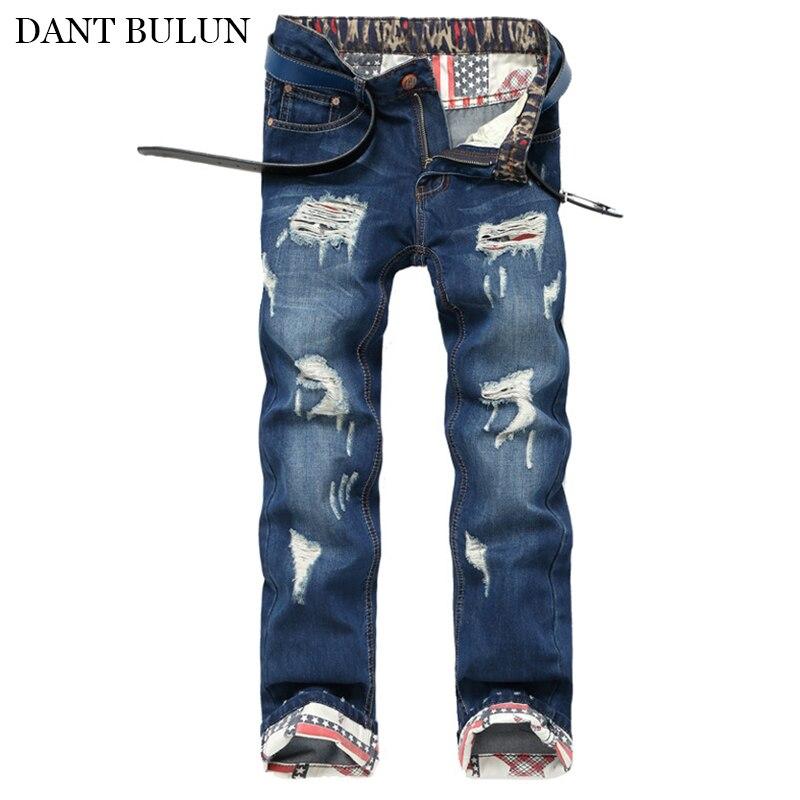 Высокое качество, мужские джинсы, тонкие прямые брюки, потертые рваные джинсы, мужские джинсовые штаны, повседневные штаны, Летние Осенние ш...