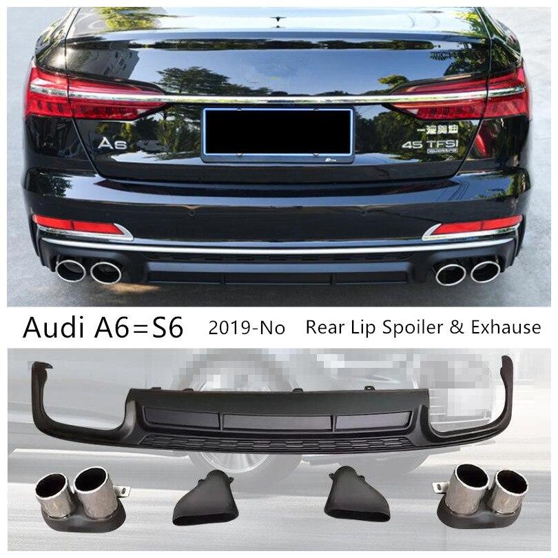 Alerón trasero y escape para Audi C8 A6 = S6 2019 2020 2021 PP difusor de parachoques de alta calidad accesorios de modificación de coche