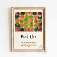 paul klee exhibition museum poster tree and architecture rhythms canvas painting abstract landscape wall picture home decor
