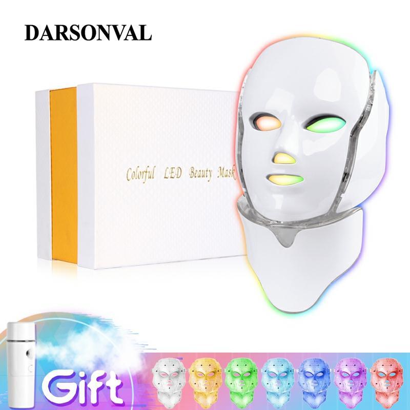 Светодиодная маска для лица и шеи Darsonval, 7 цветов, PDT светодиодная фототерапия, устройство для отбеливания морщин и акне, уход за кожей