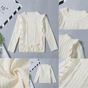 Детский вязаный свитер с оборками для маленьких девочек, теплый кардиган, пуловер, верхняя одежда для маленьких девочек, одежда для детей