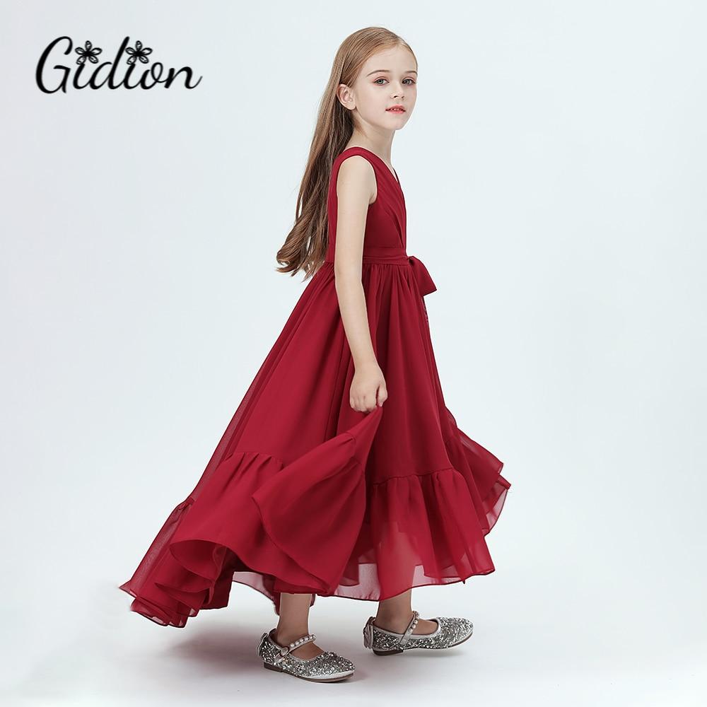 ملابس الزفاف للأطفال ، فستان حفلة عيد ميلاد ، زي الأميرة ، فستان كرة من الشيفون لوصيفة العروس الصغيرة