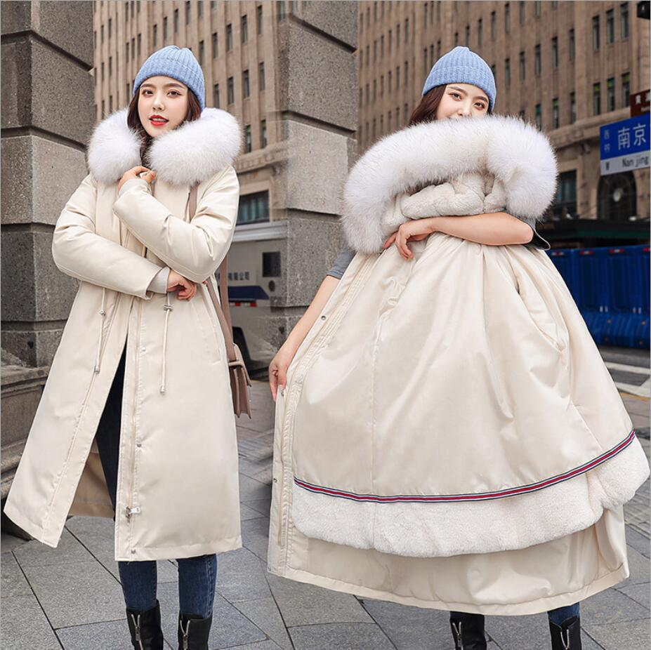 -30 درجة الثلوج ارتداء سترة طويلة ستر الشتاء النساء الفراء مقنعين الملابس الإناث الفراء بطانة سميكة معطف الشتاء النساء