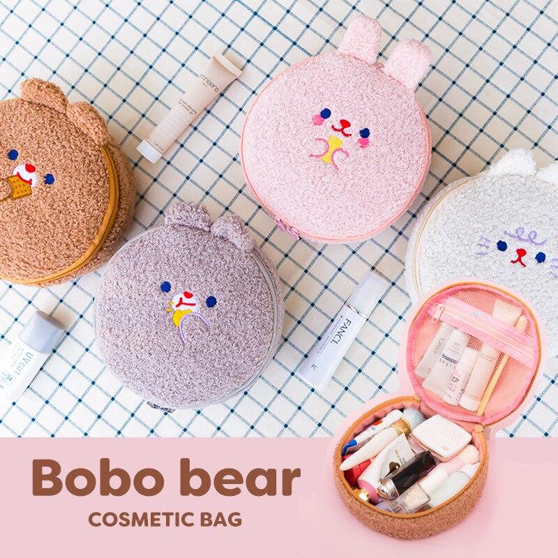 Bentoy Cute Bear Cosmetic Bag Women Cartoon Make Up Organizer Travel Girl embroidery plush storage bag