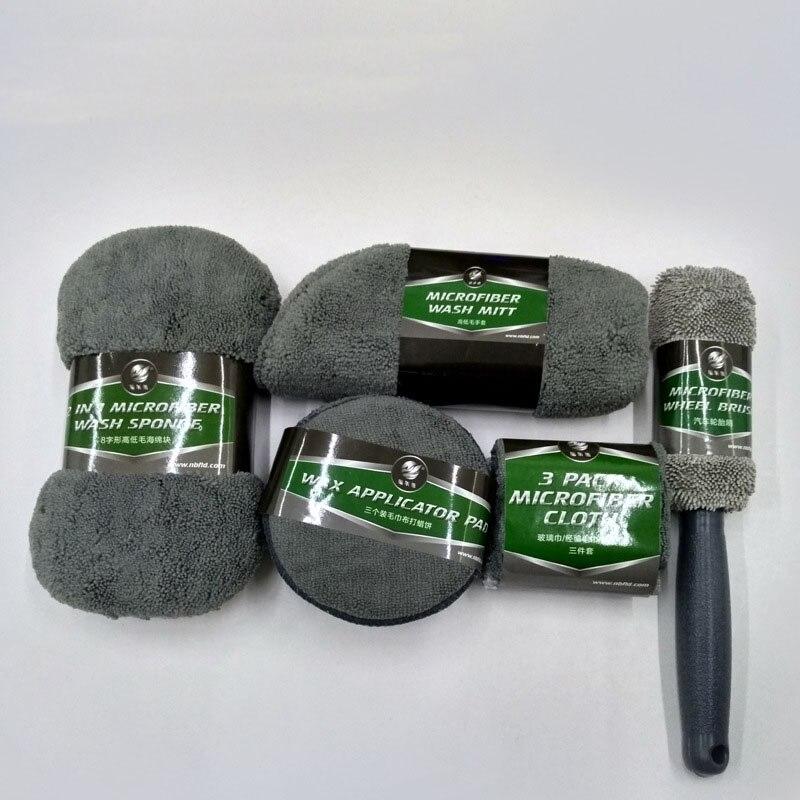 9pcs Car Cleaning Kit Car Wash Supplies Microfiber Towel Detailing Car Wheel Brush Waxing Sponge Combination Car Cleaning Tools enlarge