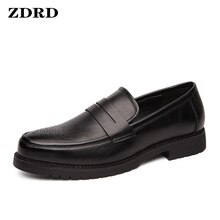 Luxury Men Loafers Shoes Genuine Leather Penny Slip On Pointed Toe Black Office Wedding Dress Summer