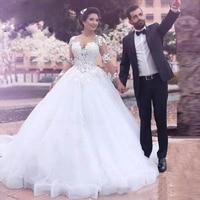2019 ball Gown wedding dress o neck marriage dress full sleeves vestido de noiva lace wedding Gown Customize zipper back dress
