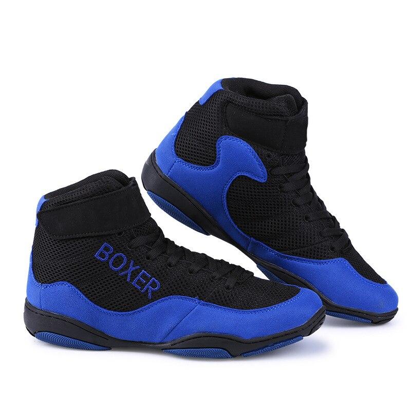Zapatos de lucha para hombres, antideslizantes, transpirables, zapatillas de boxeo, botas de combate D0880