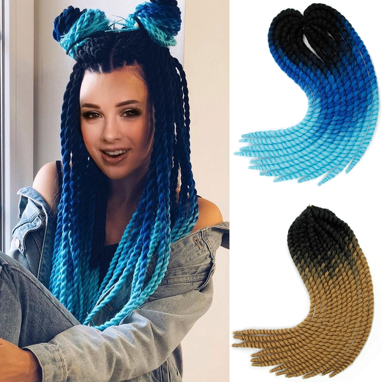 Mambo Twist Crochet Braids 18 Inch Big Size Ombre Color Synthetic ...