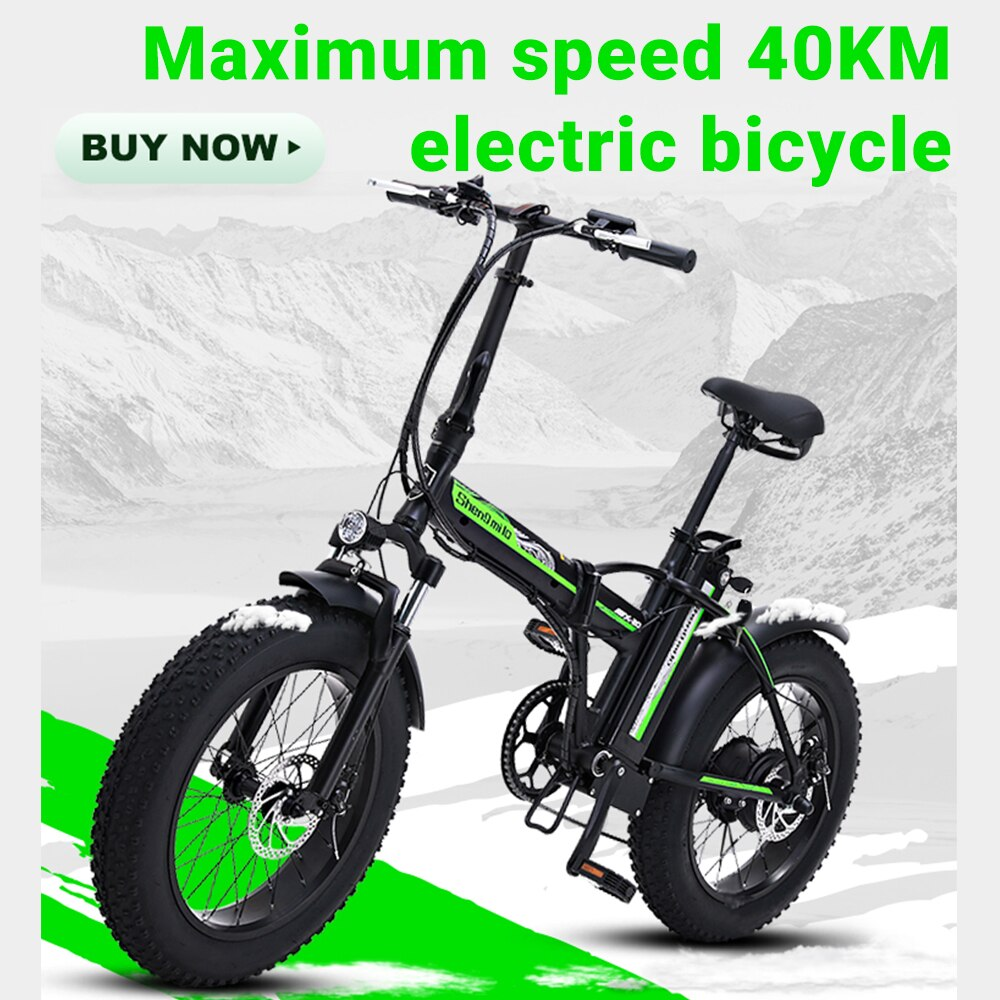 Bicicleta eléctrica de 20 pulgadas eBike, bicicleta de nieve 48V 15AH, batería de litio oculta para adultos, bicicleta eléctrica de viaje