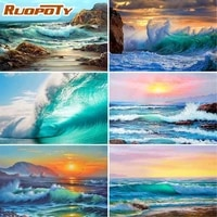 RUOPOTY     peinture acrylique par numeros avec vagues de mer  image de paysage sur toile  decoration de maison