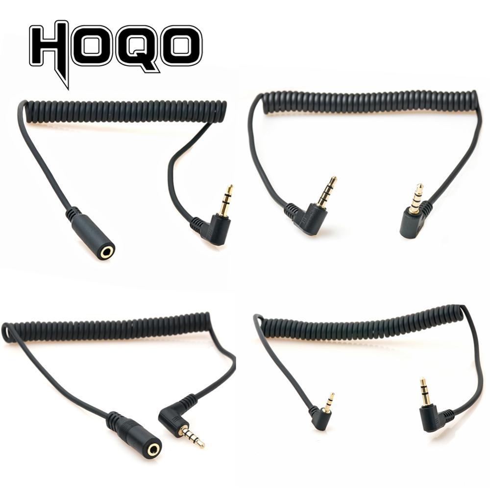 90 stopni 3.5mm 3/4 polak mężczyzna do 3.5mm/2.5mm 3/4 polak mężczyzna/kobiece słuchawki Stereo Audio AUX Mini wiosna spiralny kabel spiralny