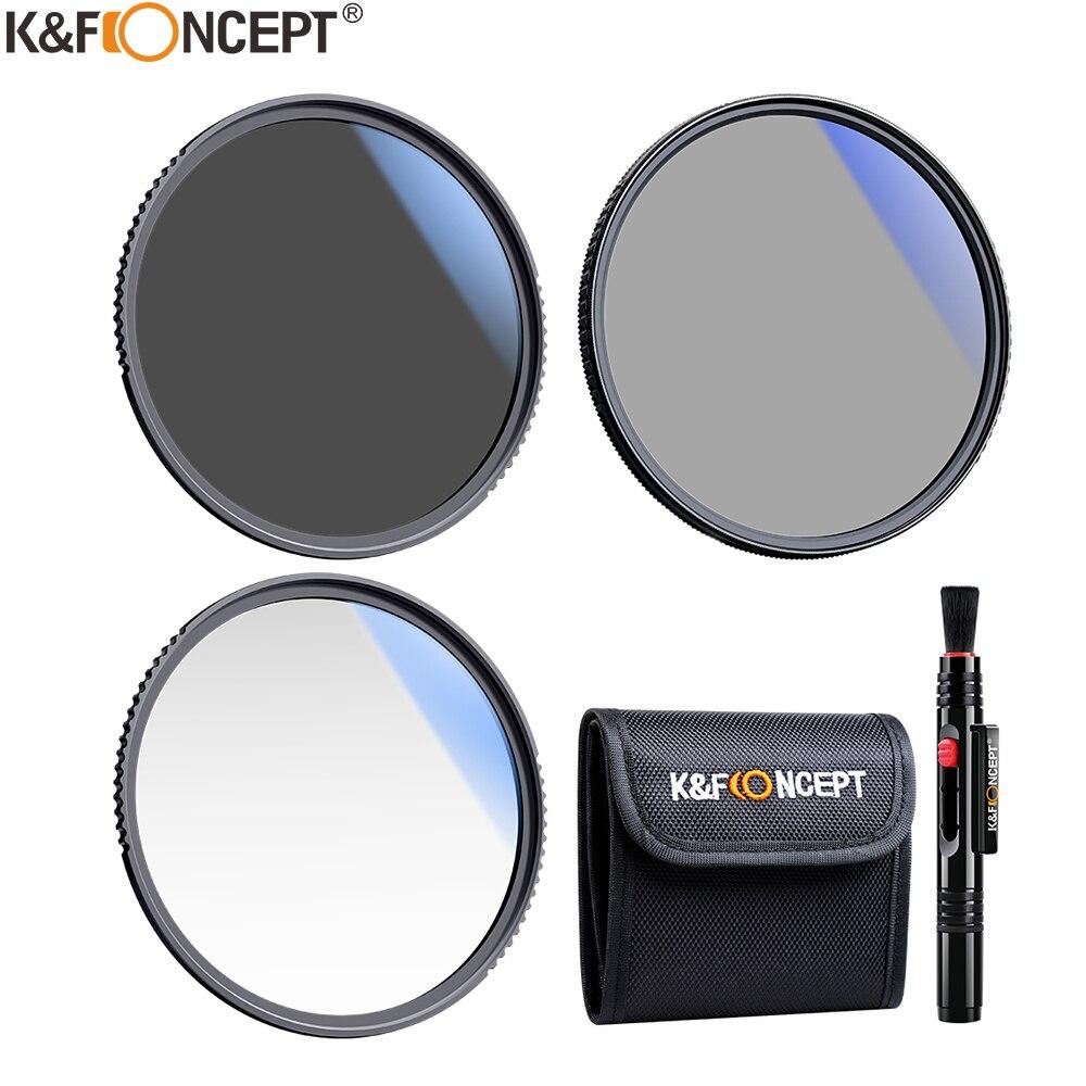 K & F مفهوم مجموعة مرشح neality الكثافة ND4 MC UV مرشح CPL عدسة الكاميرا حزمة 1 قطعة قلم تنظيف و تصفية الحقيبة 58 مللي متر 62 مللي متر 67 مللي متر