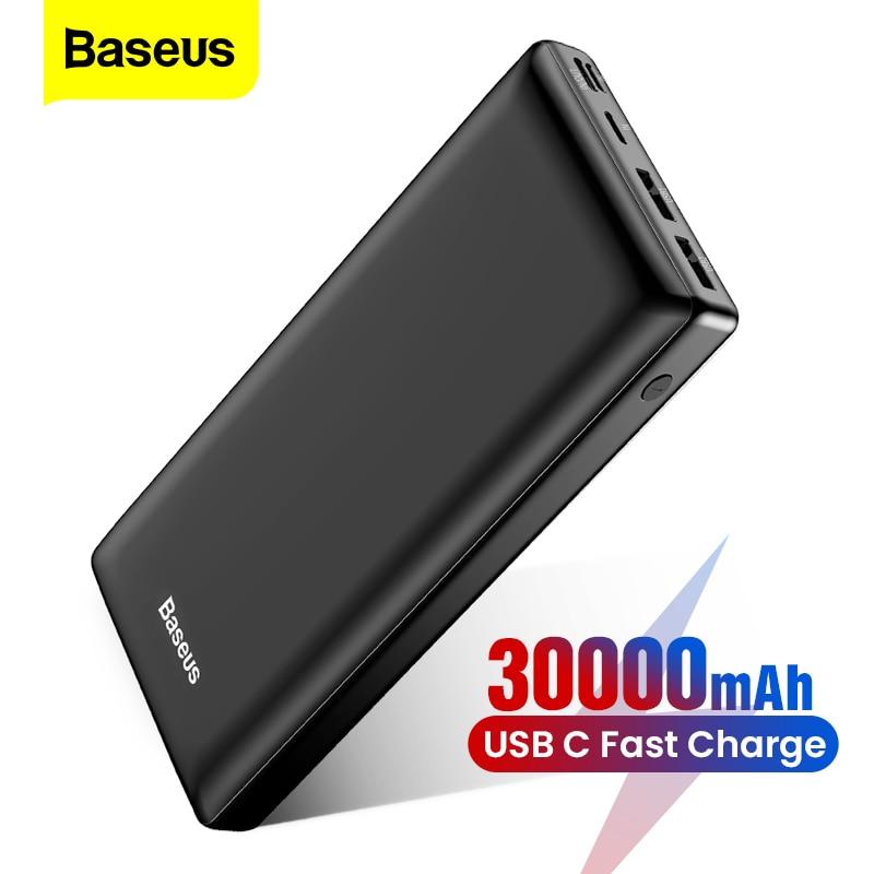 باسيوس 30000 mAh بنك الطاقة USB C 30000 mah Powerbank شحن سريع ل شاومي Mi آيفون سامسونج المحمولة شاحن بطارية خارجية