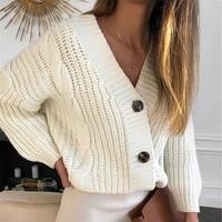 women short cardigan knitted sweater autumn winter long sleeve v neck jumper cardigans casual streetwear fashion pull femme coat