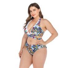 2020 Women's Bikinis Plus Size High Waisted Swimsuit Female big Breasts 4XL Halter Swimwear Bathing Suit Print Two Piece Biquini