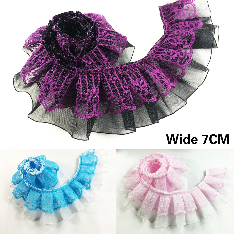 7CM de ancho de lujo rosa púrpura azul 3d Organza plisada de pompón cinta de flecos Ruffle Trim vestido cuello de costura decorativa guipur