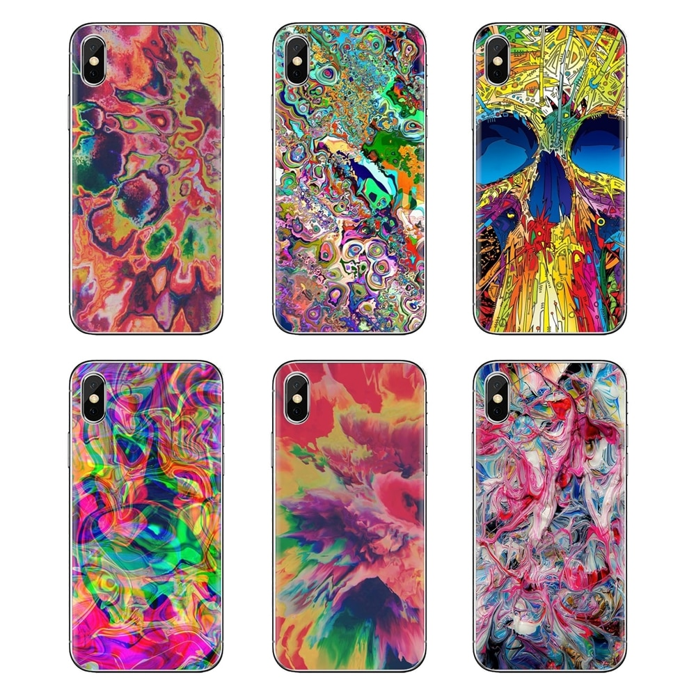 Fundas blandas transparentes abstractas brillantes LSD Trippy para Xiaomi Redmi 4A S2 Note 3 3S 4 4X 5 Plus 6 7 6A Pro pocofone F1
