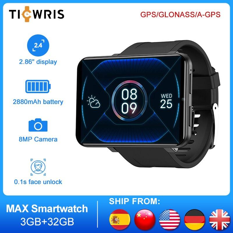 TICWRIS MAX 3GB 32GB ساعة ذكية الرجال وجه معرف كاميرا 2880mAh 2.86