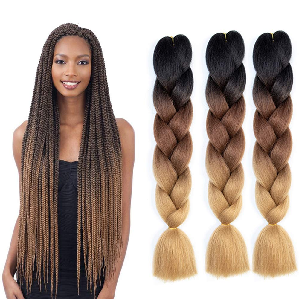 Natifah Jumbo Braiding Hair 100g 24 Inch Pre Stretched For Afro Ombre Extensions Braids Bug Color Wh