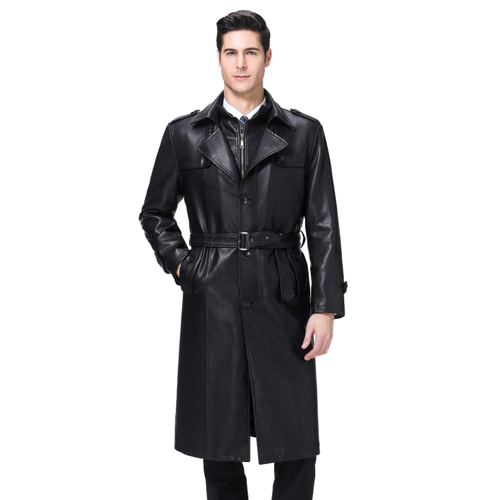 KUYOMENS Winter Men X-Long Coat Double collar leather Jacket Men's PU Overcoat Male Windbreaker 3XL 4XL Plus Size Leather Trench