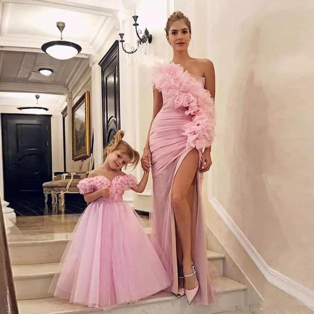 Скромные розовые платья для выпускного вечера на одно плечо для мамы и дочки 2020 Сексуальные вечерние платья с разрезом по бокам Vestidos De Fiesta