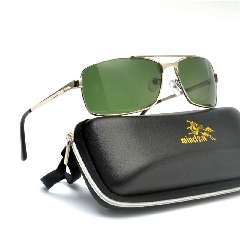 New Polarized Glass Sunglasses Men's Brand Design Retro Green Square Men's Driving Rectangular Sunglasses Men NX