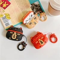 lucky cat silicone case for airpods pro cover bluetooth earphone case for apple airpod pro cute for air pods pro 3 with keychain