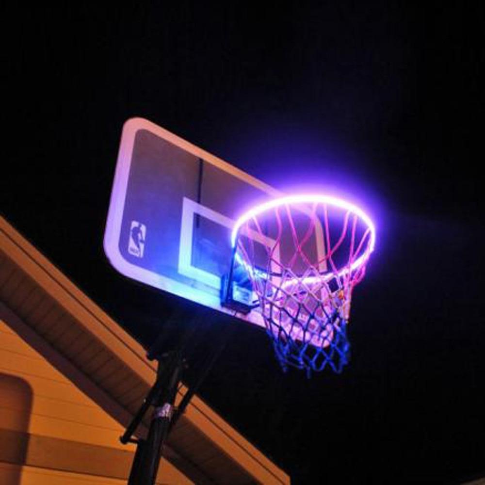 Aro de canasta LED iluminado, accesorio de llanta de baloncesto para jugar por la noche, aro de baloncesto iluminado que te ayuda a disparar aros, lámpara de tira LED