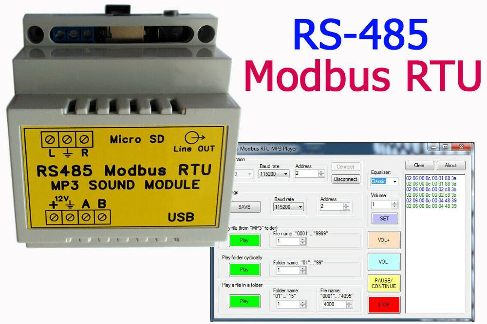 RS485 Modbus RTU MP3 Player (Sound Module) DIN